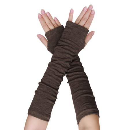 Lady Thumb Hole Stretch Wrist Arm Warmer Fingerless Gloves Pair Brown