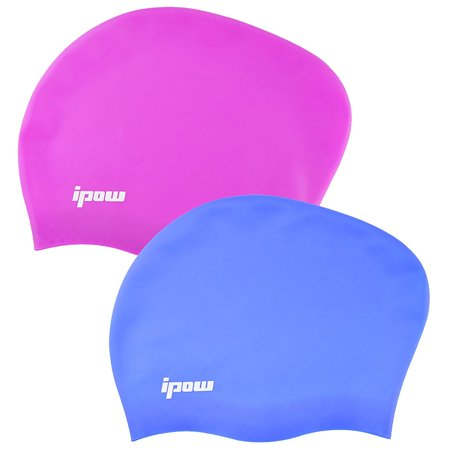 2 Pack,Ipow Premium Waterproof Haircare Silicone Swim Cap Soft Bathing Hat to Keep Hair Healthy with Greater Durability Highly Elastic & Large Stretch