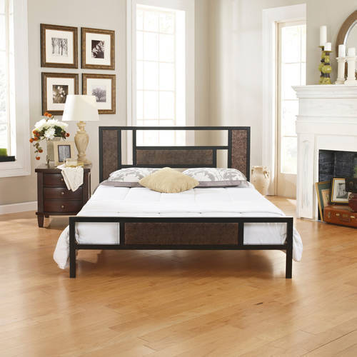 premier christa metal platform bed frame queen with bonus base wooden slat system
