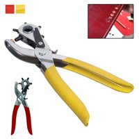 """9"""" Rubber Gripped Carbon Steel 6 Size Revolving Leather Hole Punch Tool w/ Brass"""