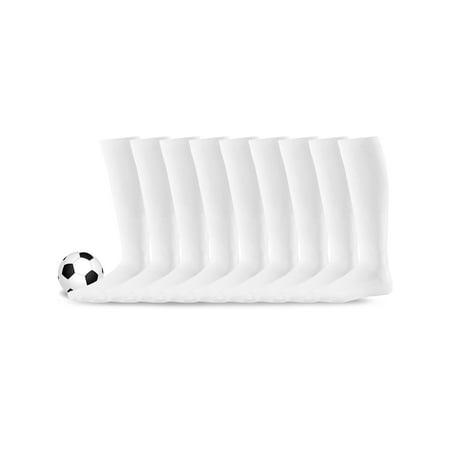 Soxnet Acrylic Unisex Soccer Sports Team Cushion Socks 9 Pack (Large (10-13), White)