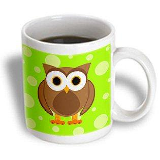 Bright Ceramic - 3dRose Cute Brown Owl on Bright Green Background, Ceramic Mug, 11-ounce