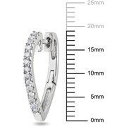 1/4 Carat T.W. Diamond Heart Hoop Earrings in Sterling Silver