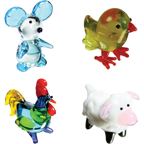 BrainStorm Looking Glass Miniature Glass Figurines, 4-Pack, Mouse/Chickee/Rooster/Lamb