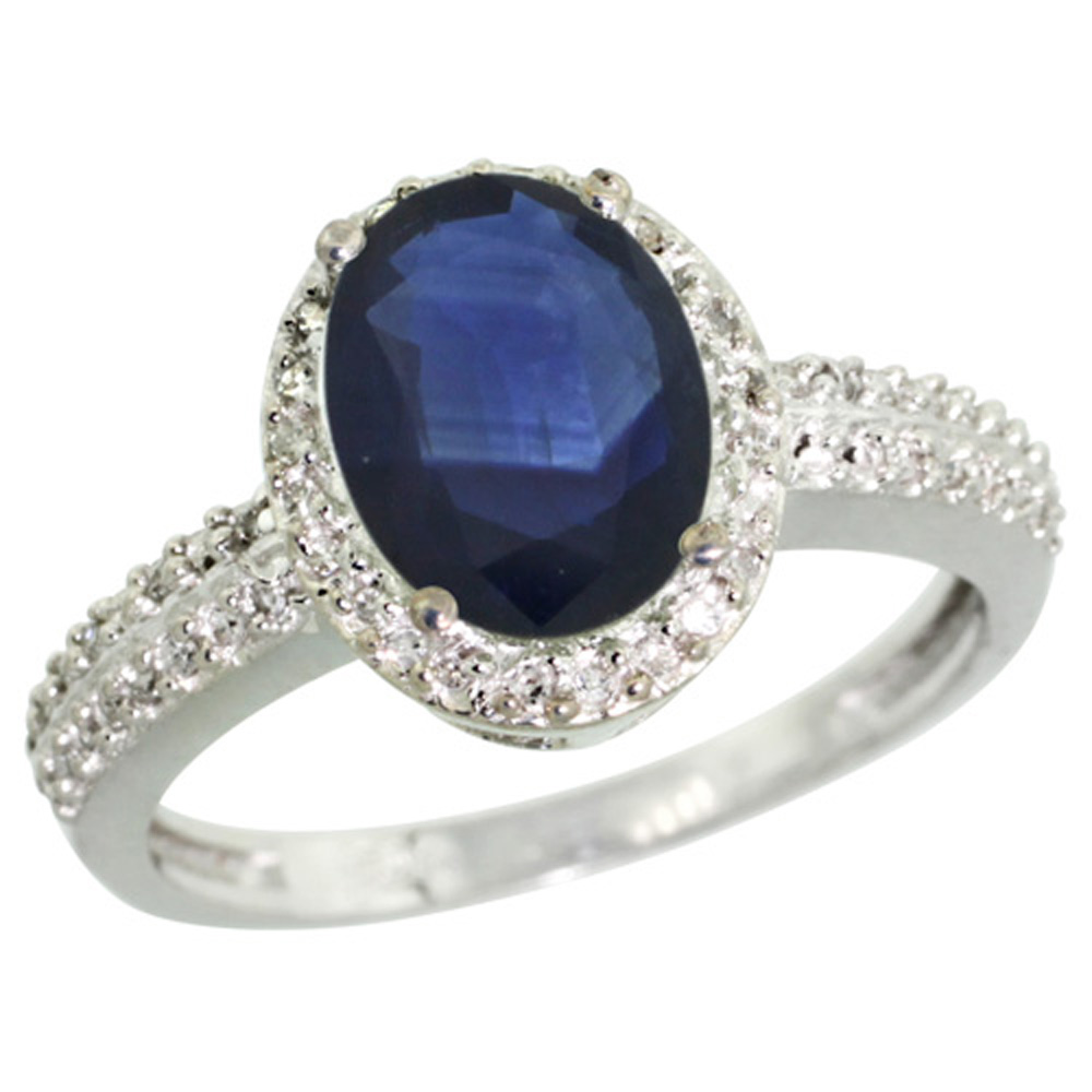 Sterling Silver Diamond Natural Diffused Ceylon Sapphire Ring Oval 9x7 mm, size 5 by Gabriella Gold