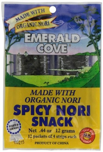 Emerald Cove Silver Grade Organic Spicy Nori (Toasted Seaweed) Snacks by Emerald Cove
