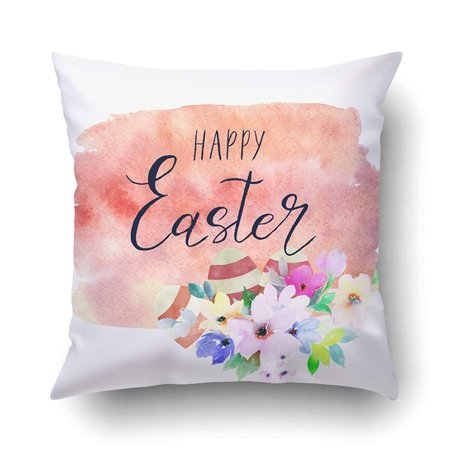 BOSDECO Floral With Calligraphy Happy Easter And Eggs On Watercolor Vintage Pillowcase Pillow Cushion Cover 18x18 inch - image 1 de 1