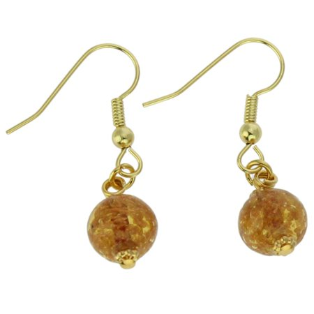 GlassOfVenice Murano Glass Starlight Balls Earrings - Light Topaz