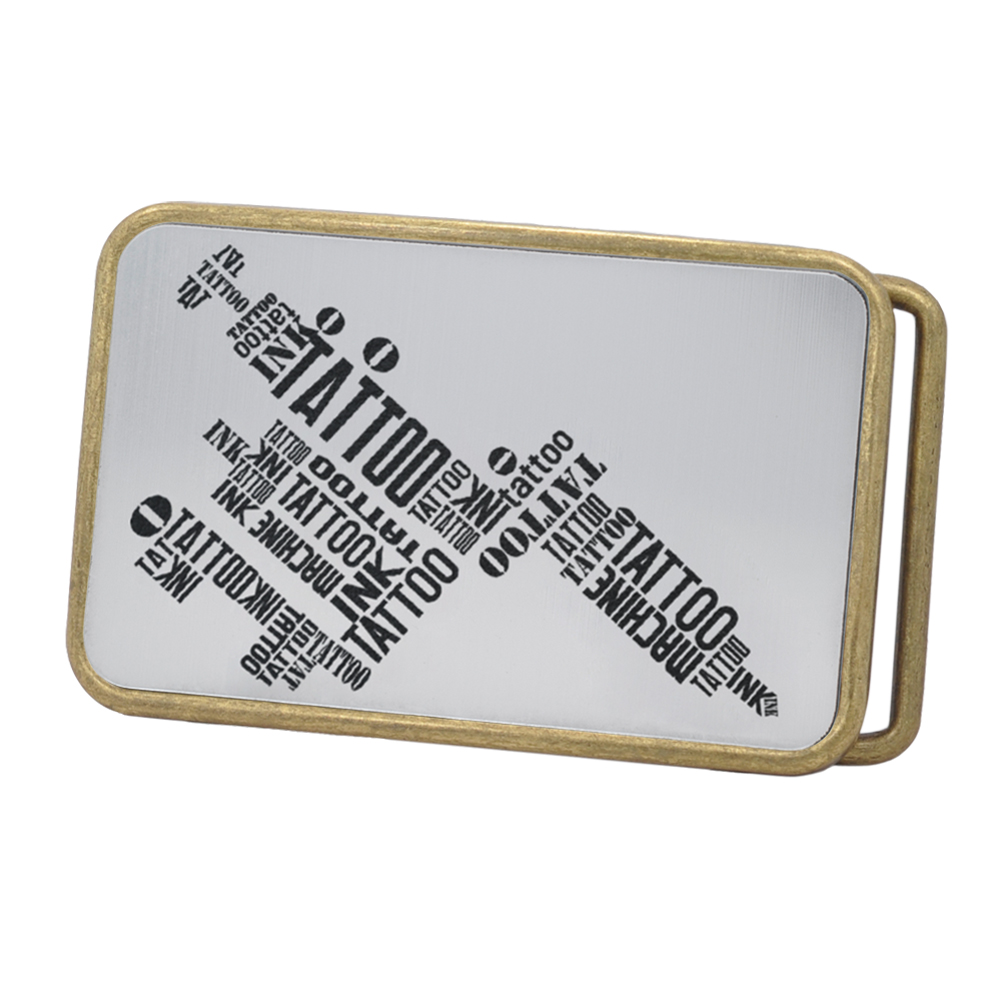 Buckle Rage Tattoo Machine Typography Rounded Rectangle Belt Buckle, BRONZE, S1060-162-BNZ
