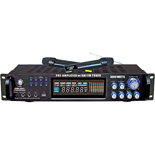 Pyle 3000-Watt Hybrid Pre-Amplifier With AM-FM Tuner/USB/Dual Wireless Mic