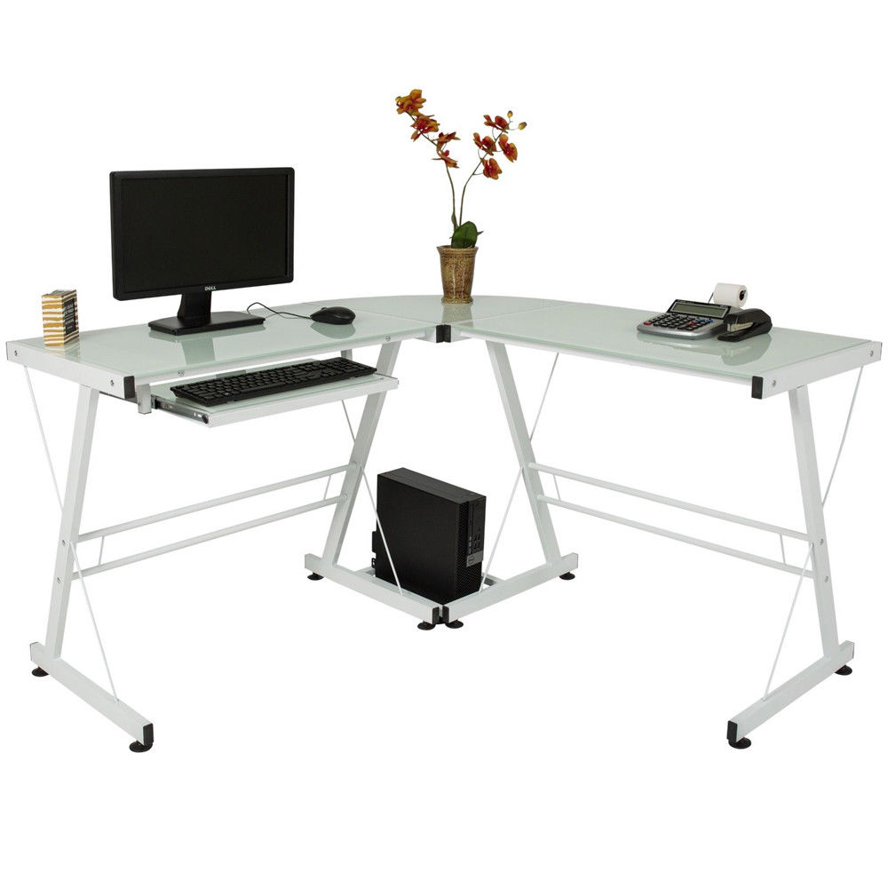 Zimtown White L Shape Office Desk Glass PC Computer Workstation Home Study  Corner Table