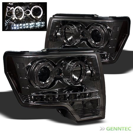 2014 F150 Headlights >> Smoked 2009 2014 Ford F150 Dual Halo Led Projector Headlights Smoke Head Lights Lamp Pair Left Right 2010 2011 2012 2013