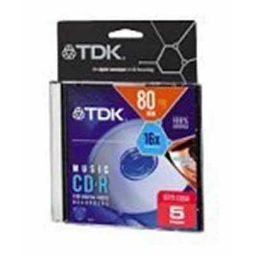 TDK 80-Minute CD-R Discs (5-Pack) (CDR80TWNML5TG)