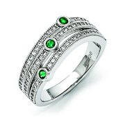 Sterling Silver Clear & Green CZ Polished Ring