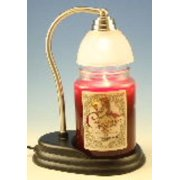 Aurora Pewter Candle Warmer Gift Set - Warmer and Courtneys 26oz Jar Candle - CINNAMON