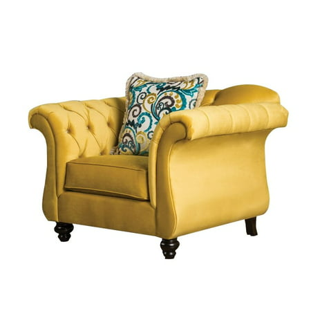 Groovy Furniture Of America Dupre Tufted Accent Chair In Royal Yellow Machost Co Dining Chair Design Ideas Machostcouk