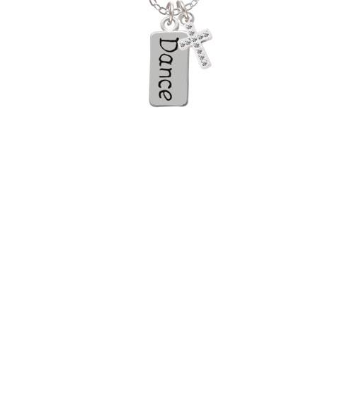 "Dance  - White Crystal Cross Sophia Necklace, 18""+1"""