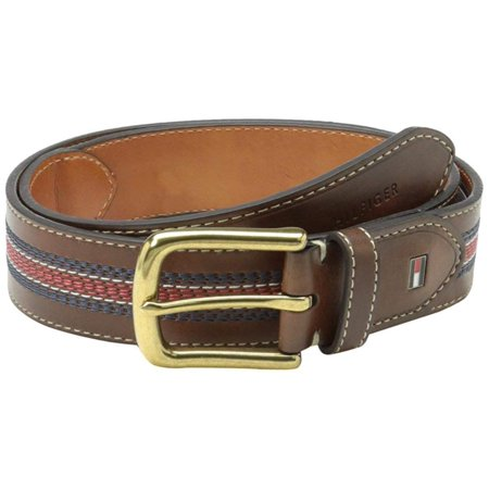 Tommy Hilfiger Men's Leather Belt - Casual or Dress for Men with Stripe Stitching on Strap Classic Single Prongle Buckle, Tan/Navy/Red, 32, 54%.., By TommyHilfiger