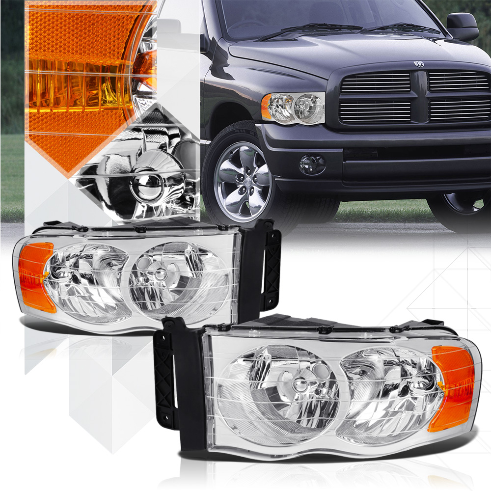 Chrome Housing Headlight Amber Signal Reflector for 02-05 Dodge Ram 1500/2500