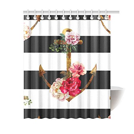 MYPOP Nautical Navy Ocean Ship Stripes Anchor Rustic and Rose Flower with Black White Stripes Home Decor 60 X 72 Inches Long Polyester Fabric Shower Curtain Hooks Set of 12