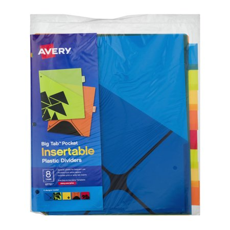 avery big tab pocket insertable plastic dividers 10 ct