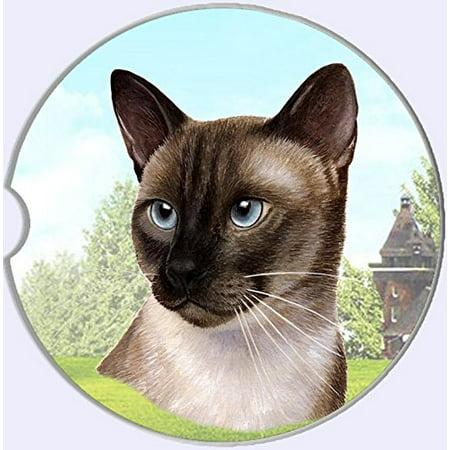 ES Pets Absorbent Stoneware Car Cup Holder Coaster, Siamese Cat Car Cup Holder Coaster