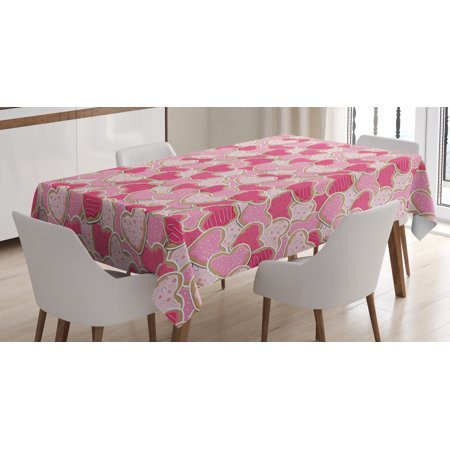 Valentines Tablecloth, Heart Shaped Cookies Surprise Tasty Goodies for Valentines Day, Rectangular Table Cover for Dining Room Kitchen, 60 X 84 Inches, Magenta Pale Pink Pale Brown, by Ambesonne - Valentines Tablecloth