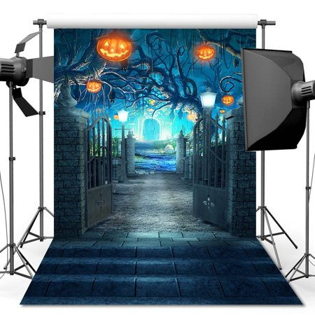 HelloDecor Polyester Fabric 5x7ft Halloween Horrible Stone Castle Terror Tree Pumpkin Lantern Backdrop For Studio Props Photo Backdrop - Halloween Streamer Backdrop