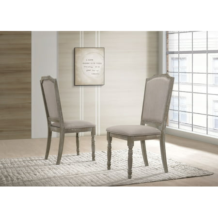 Roundhill Ferran Wood Pedestal Dining Chair in Reclaimed Gray, Set of 2 ()
