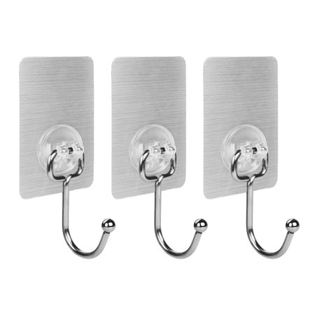 Steel High Polished Finish (Oneach 17.6lb/8kg(Max) 304 Stainless Steel Traceless Polished Finish Adhesive Hooks Reusable Heavy Duty Wall Towel Hook No Scratch ,Waterproof and Oilproof, for Bathroom Kitchen Ceiling Hanger (3 PCS))