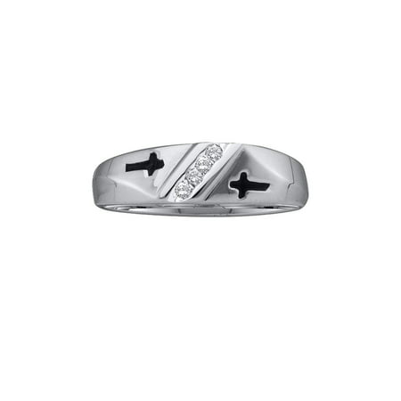 10kt White Gold Mens Round Diamond Single Row Cross Wedding Band 1/20 Cttw Gift for Valentines Day