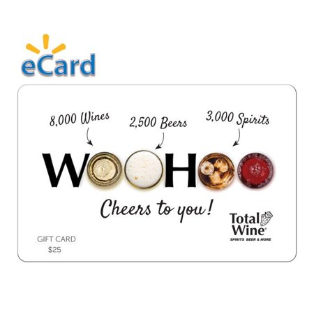 Total Wine $25 Gift Card (Email Delivery) Total Wine & More is Americas largest independent retailer of fine wine, beer and spirits with over 190+ stores in 22 states, and growing. With 8,000 wines, 3,000 Spirits and 2,500 beers combined with everyday low prices and expertly trained wine associates, Total Wine & More provides a unique shopping experience. Since opening its first store in 1991, Total Wine & More has been committed to being the premier wine, spirits & beer retailer in every community that it serves.