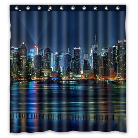 GCKG NYC New York City Colorful Buildings At Night Waterproof Polyester Shower Curtain Bathroom Deco 66x72 inches (Nyc Building Shower Curtain)