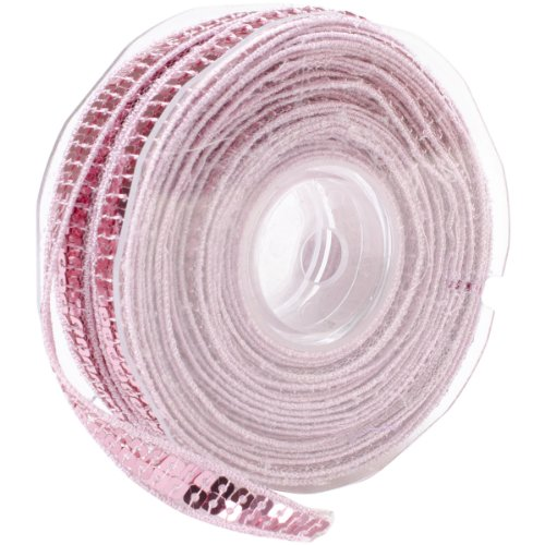 Square Sequin Trim 10mm X 15.95 Yards-Light Pink Multi-Colored