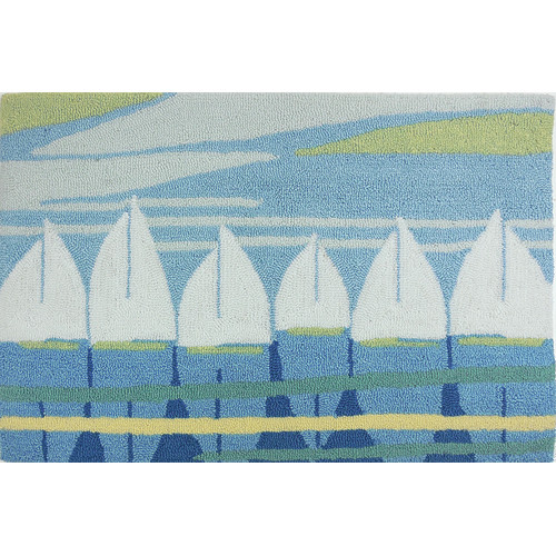 Homefires Nautical Anchor Turquoise/White Area Rug