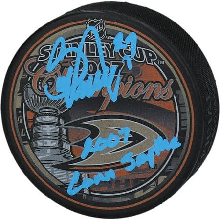Scott Niedermayer Anaheim Ducks Autographed 2007 Stanley Cup Champions Logo Hockey Puck with