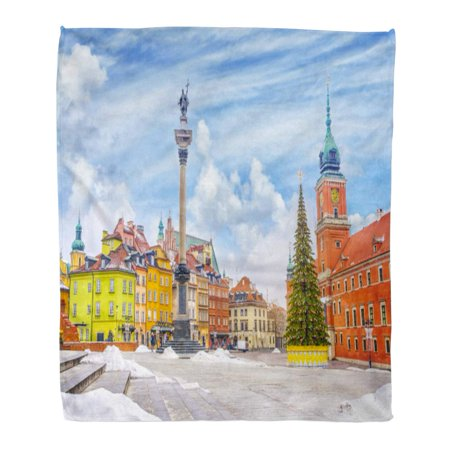 KDAGR Flannel Throw Blanket Royal Castle Ancient Colorful Townhouses and Sigismund Column in Old Town Warsaw on Christmas Day Poland is 50x60 Inch Lightweight Cozy Plush Fluffy Warm Fuzzy Soft