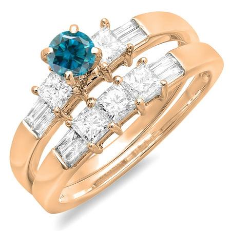 1.00 Carat (ctw) 14K Rose Gold Round Princess & Baguette Cut Blue & White Diamond Ladies Bridal Engagement Ring Set 1 CT