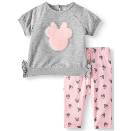 Disney Minnie Mouse Short Sleeve French Terry Top and Legging, 2pc Outfit Set (Baby