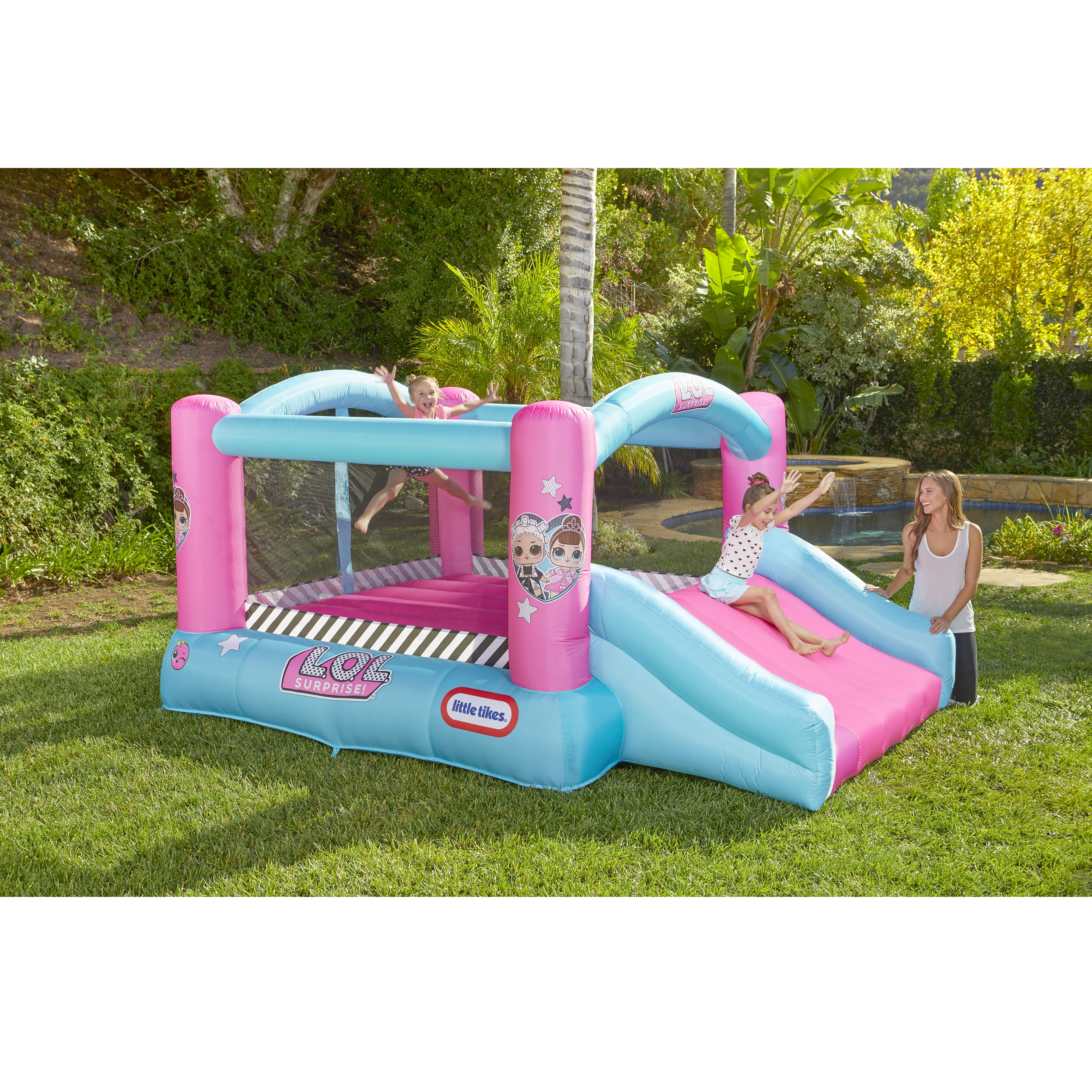 L O L Surprise Jump N Slide Inflatable Bounce House With Blower