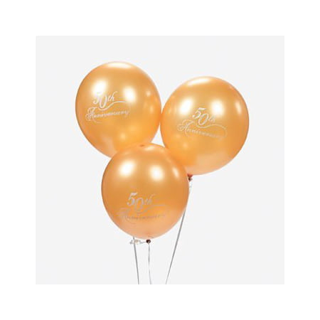 12 Gold 50th Wedding Anniversary Balloons, 12 Gold 50th Wedding Anniversary Balloons By Fun Express