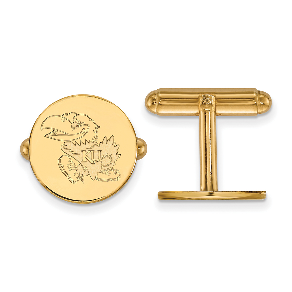 Lex & Lu LogoArt 14k Yellow Gold University of Kansas Cuff Link LAL137631