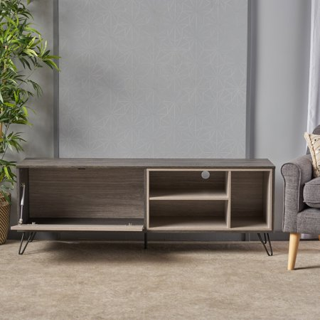Noble House Edison Mid Century Modern Two Toned Faux Wood Tv Stand Sonoma Grey Oak Grey Oak Black