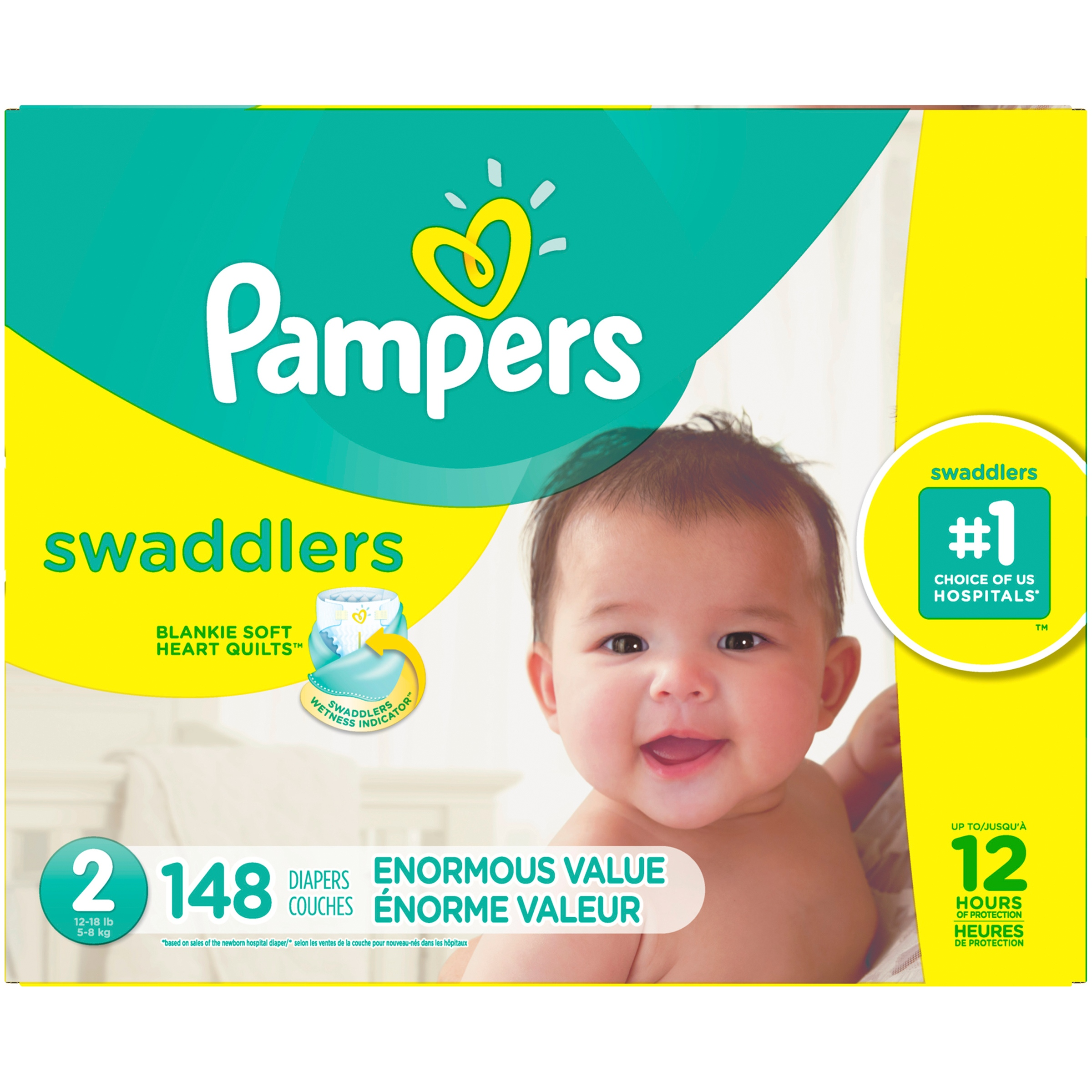 Pampers Swaddlers Diapers Size 2 148 ct