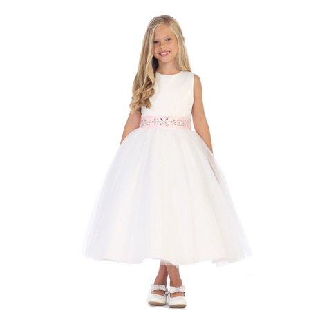 Angels Garment Little Girls White Champagne Stone Sash Flower Girl Dress 3-6 Little Angels Flower Girl