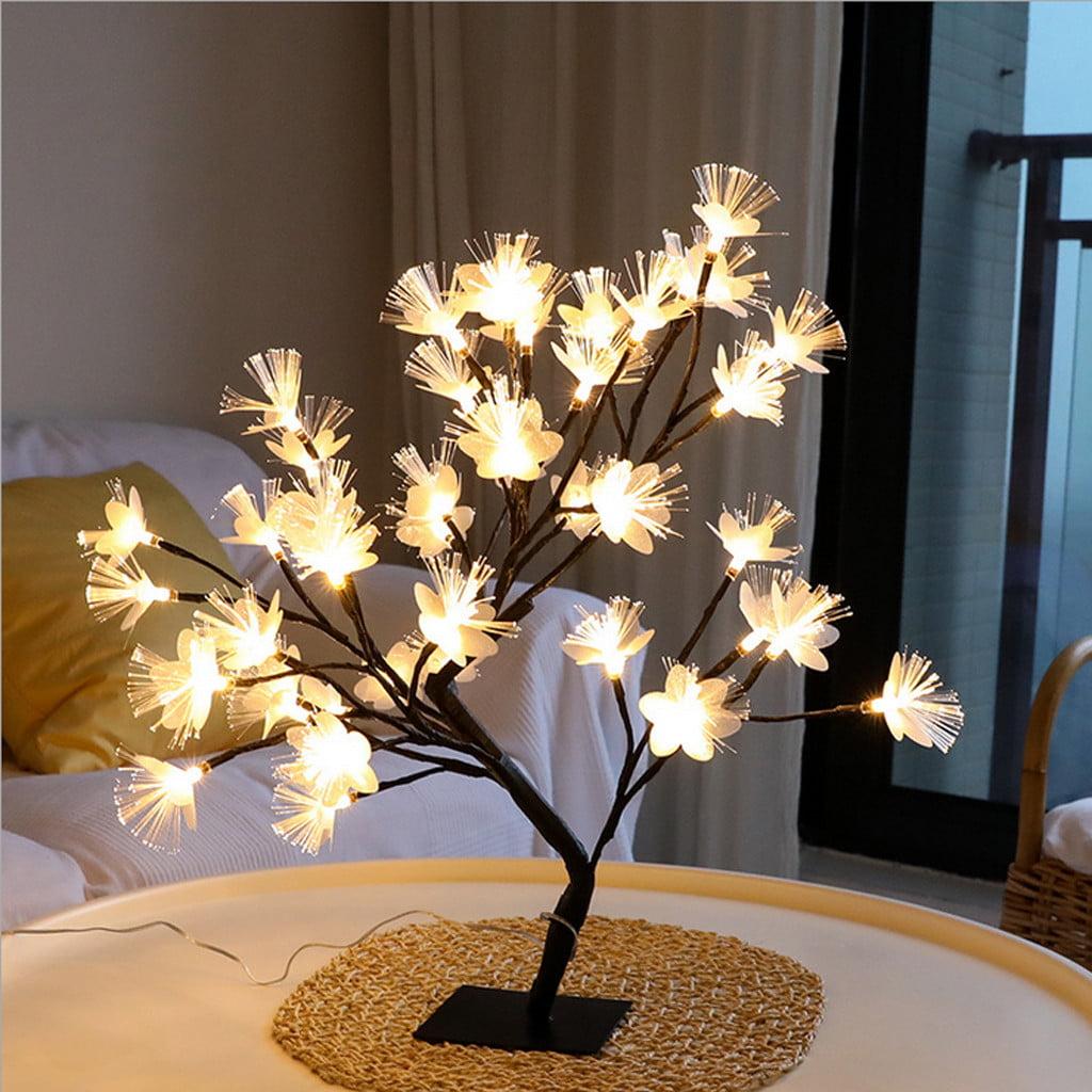 36 LED Fiber Optic Flower Tree Light Black Branch Home ...