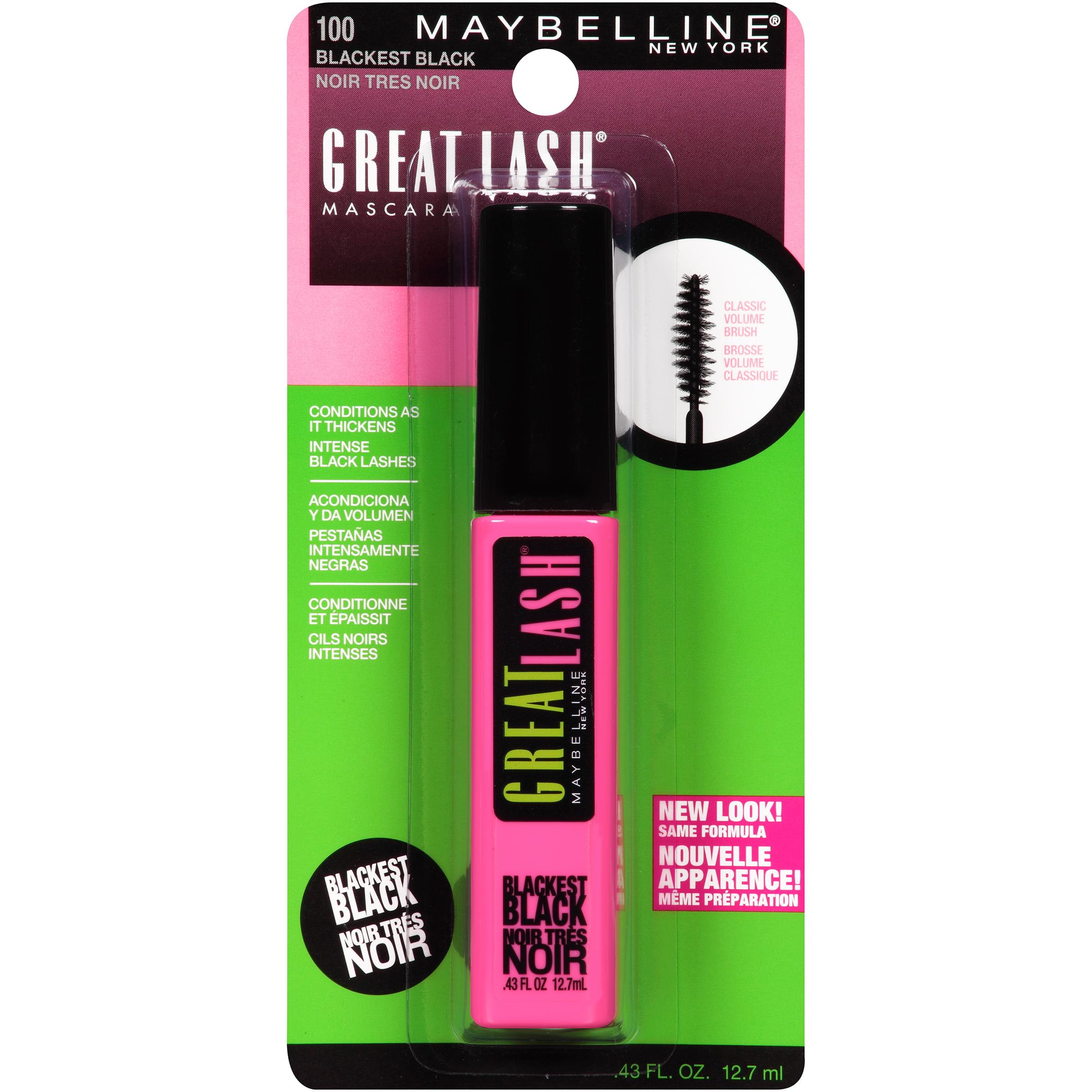a84845a9c90 Maybelline New York Great Lash Washable Mascara, Blackest Black, .43 fl oz  - Walmart.com
