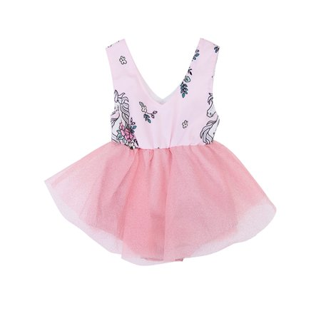 stylesilove Newborn Baby Girl Unicorn Print Sleeveless Romper Tutu Dress (90/3-6 Months, Pink) ()