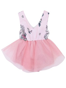 2041112a8b9 Product Image stylesilove Newborn Baby Girl Unicorn Print Sleeveless Romper  Tutu Dress (90 3-6