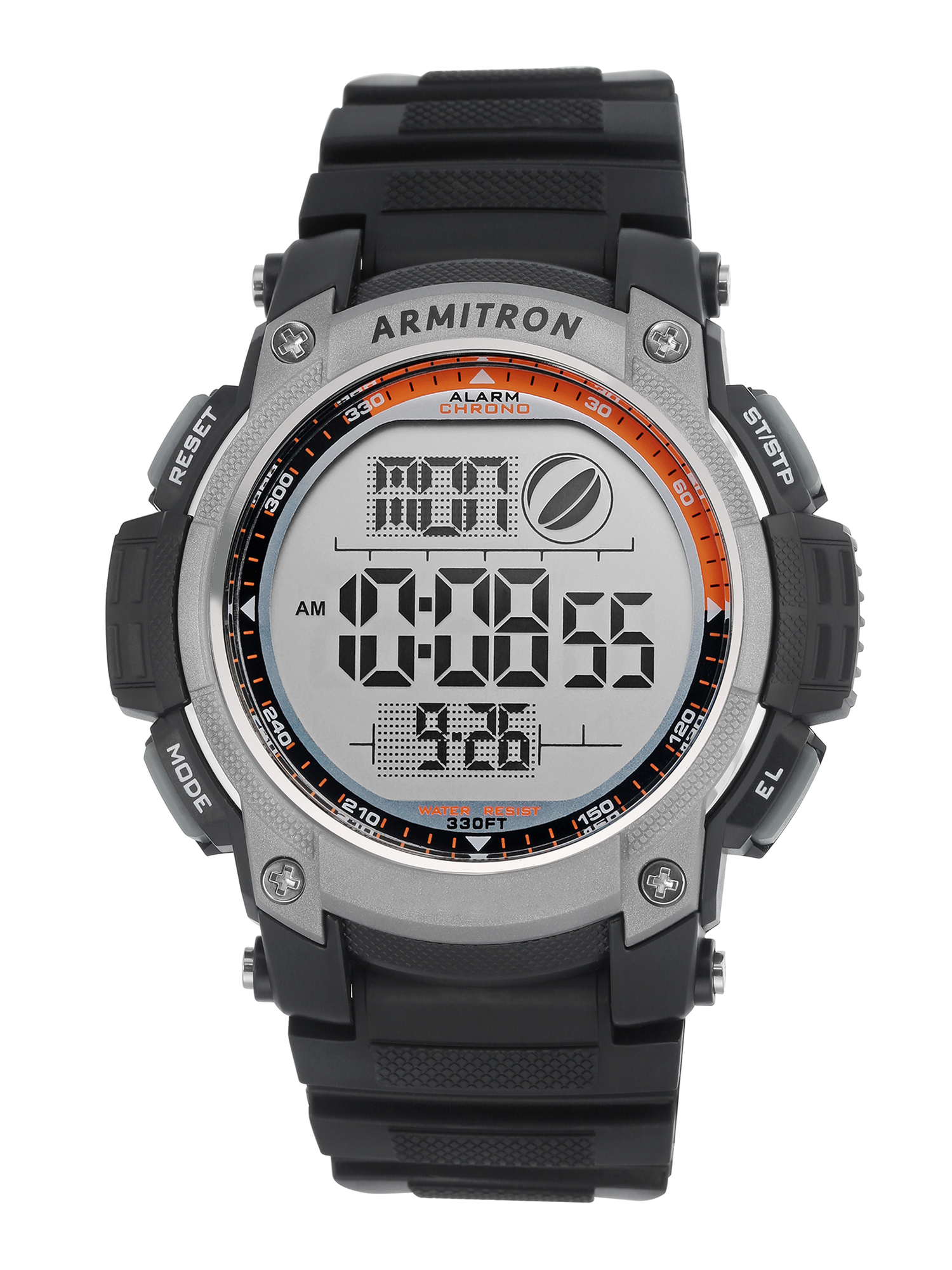 Men's Gray Bezel Chronograph Watch, Black Resin Strap